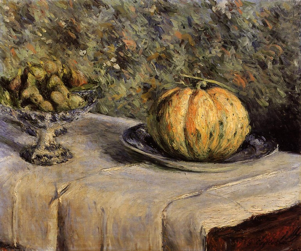 Melon and Bowl of Figs by Gustave Caillebotte