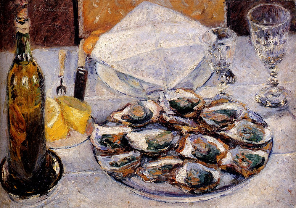 Still Life Oysters by Gustave Caillebotte
