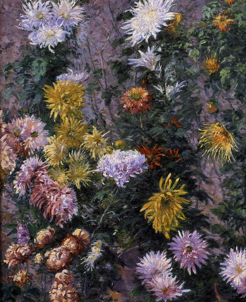 White and Yellow Chrysanthemums Garden at Petit Gennevilliers by Gustave Caillebotte