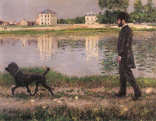 Richard Gallo and his dog by Gustave Caillebotte
