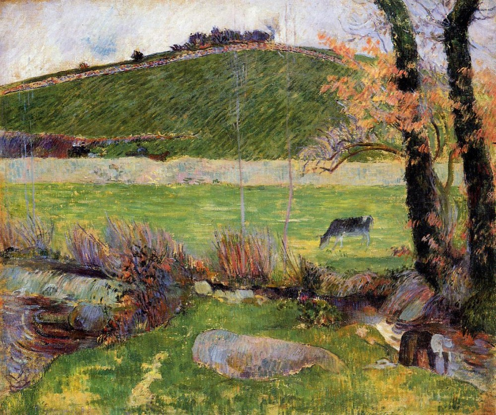 A Meadow On The Banks Of The Aven by Eugène Henri Paul Gauguin
