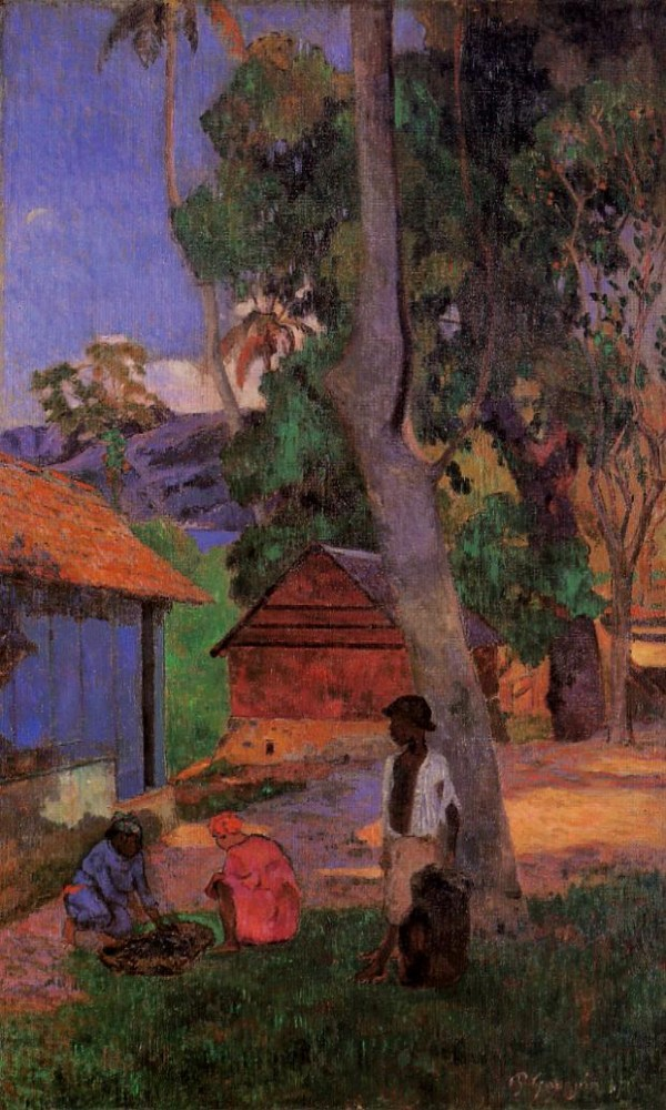 Around The Huts by Eugène Henri Paul Gauguin