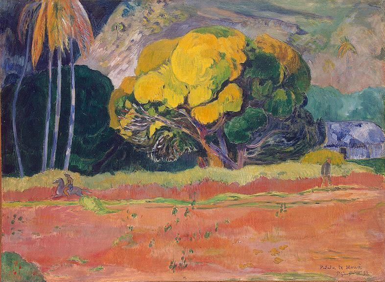 At The Foot Of The Mountain by Eugène Henri Paul Gauguin