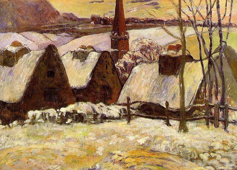 Breton Village In The Snow by Eugène Henri Paul Gauguin