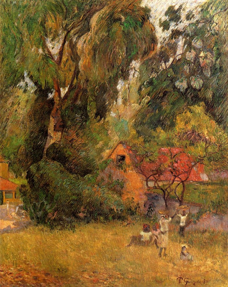 Huts Under The Trees by Eugène Henri Paul Gauguin