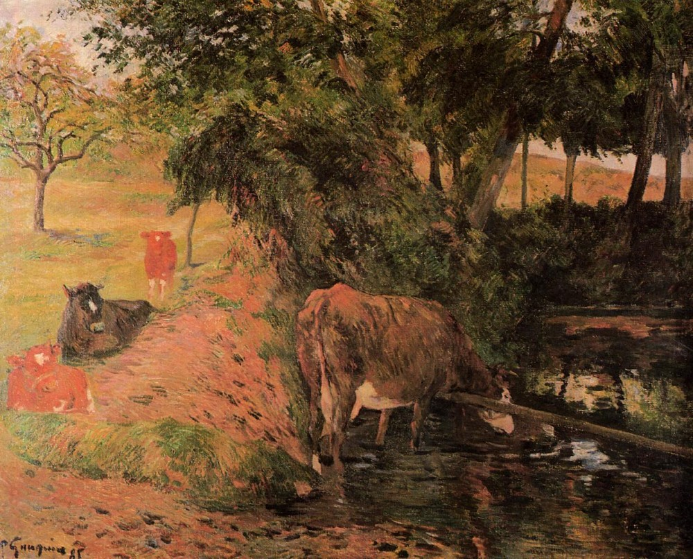 Landscape With Cows In An Orchard by Eugène Henri Paul Gauguin