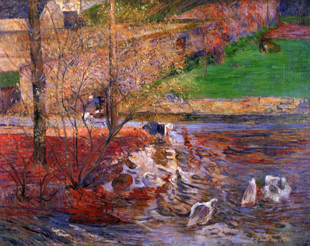 Landscape With Geese by Eugène Henri Paul Gauguin