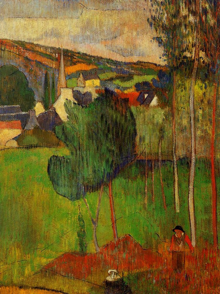 View Of Pont-Aven From Lezaven by Eugène Henri Paul Gauguin