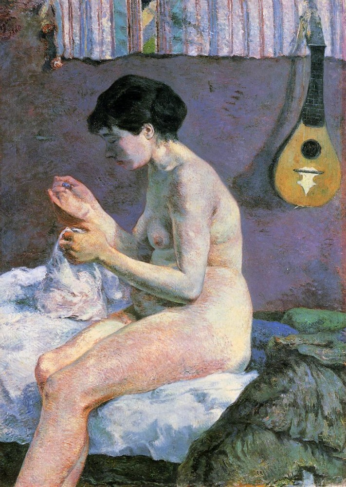 Study of a Nude, Suzanne Sewing by Eugène Henri Paul Gauguin