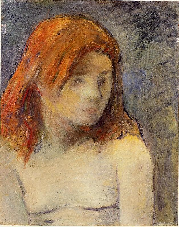 Bust Of A Nude Girl by Eugène Henri Paul Gauguin