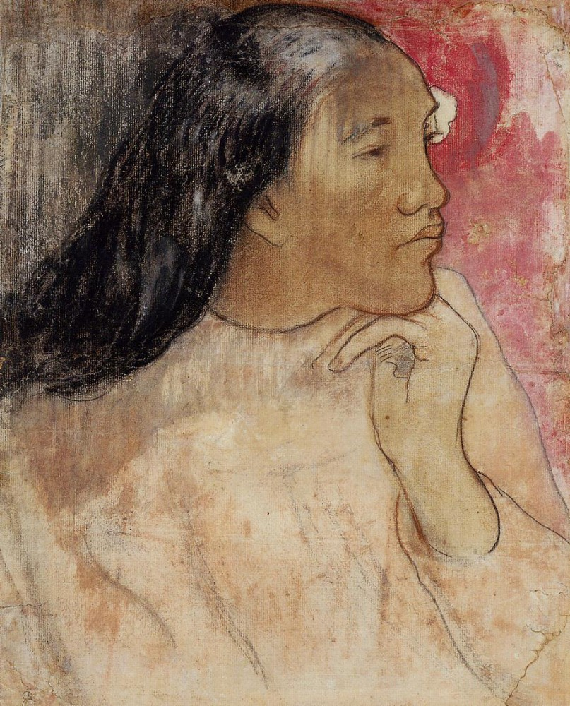A Tahitian Woman With A Flower In Her Hair by Eugène Henri Paul Gauguin