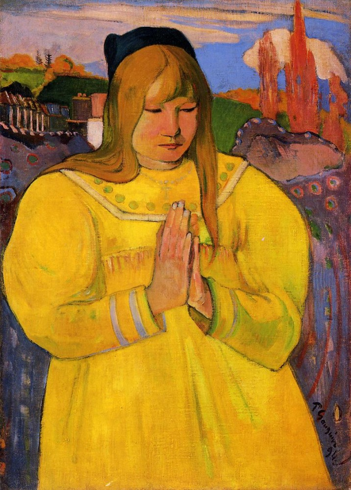 Breton Woman In Prayer by Eugène Henri Paul Gauguin