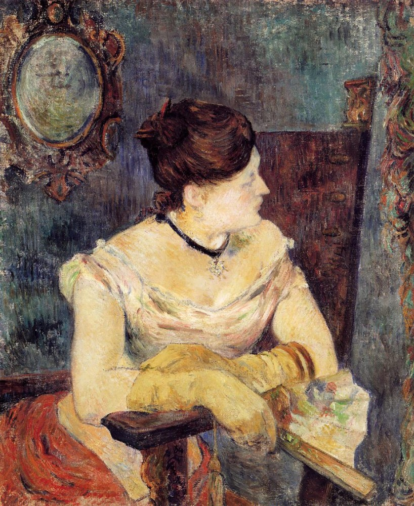 Madame Mette Gauguin In An Evening Dress by Eugène Henri Paul Gauguin