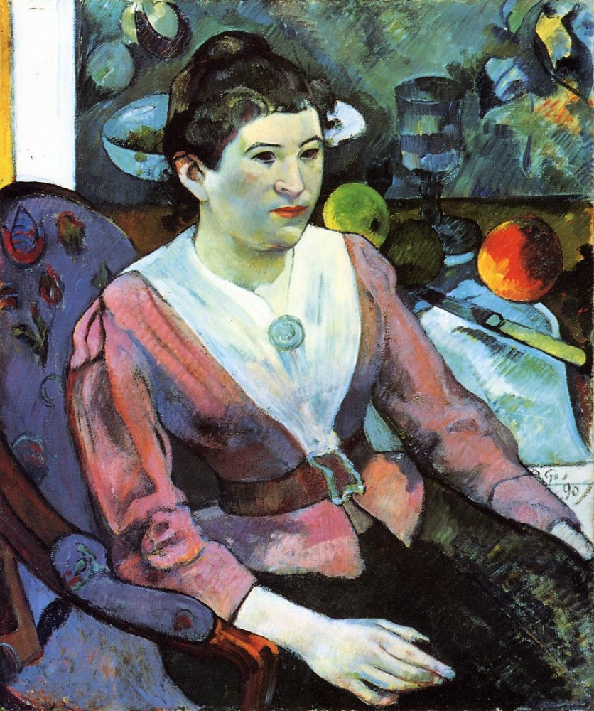 Portrait Of A Woman With Cezanne Still Life by Eugène Henri Paul Gauguin