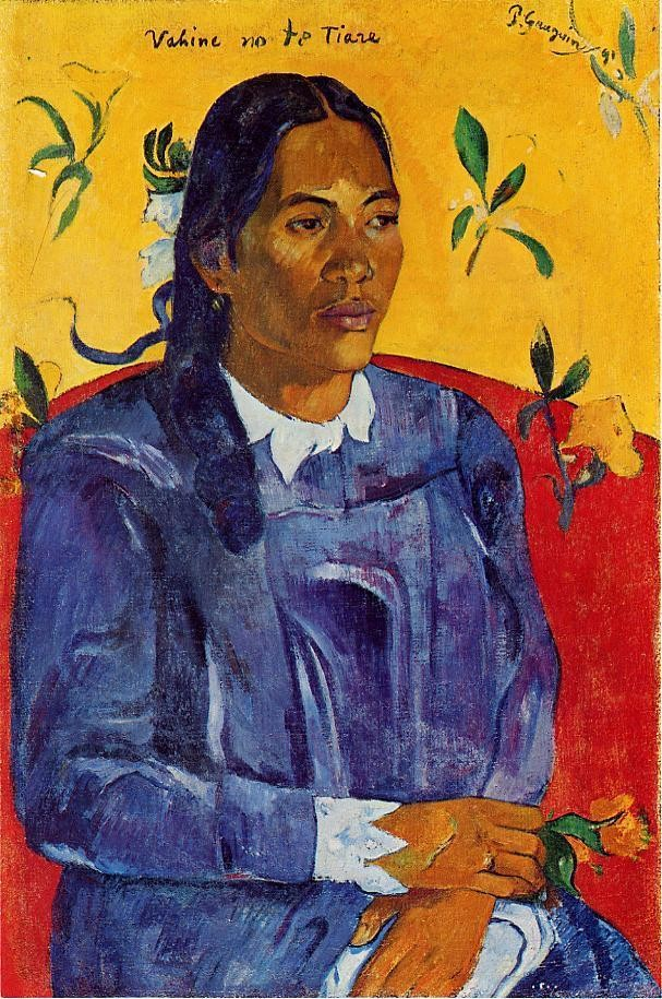 Woman With A Flower by Eugène Henri Paul Gauguin