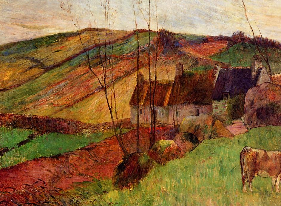 Cottages On Mount Sainte-Marguerite by Eugène Henri Paul Gauguin