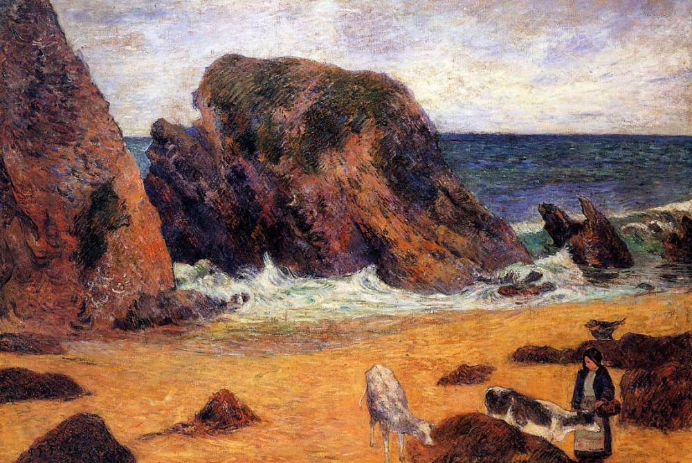 Cows By The Sea by Eugène Henri Paul Gauguin