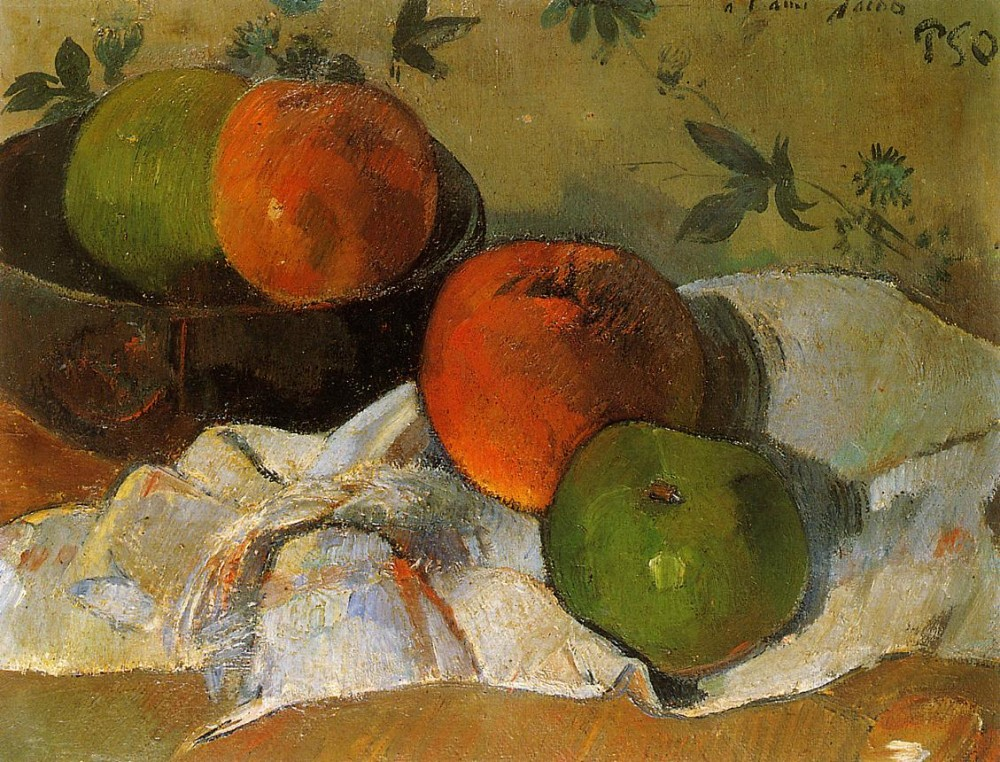 Apples And Bowl by Eugène Henri Paul Gauguin