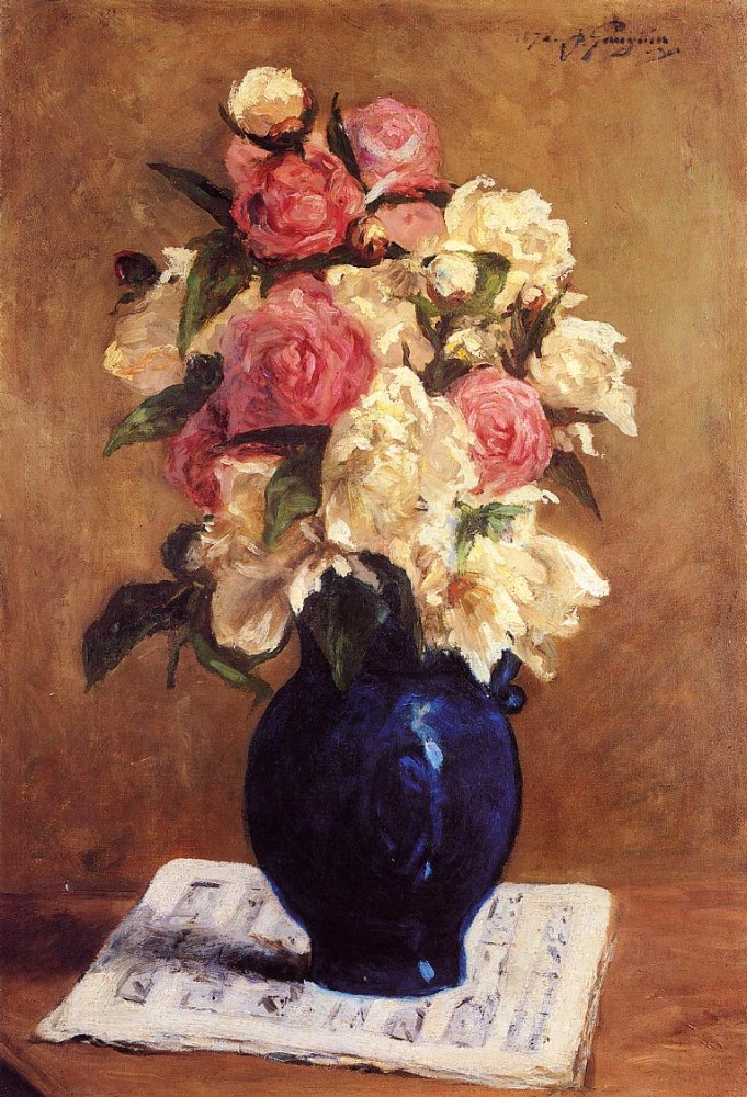 Boquet Of Peonies On A Musical Score by Eugène Henri Paul Gauguin