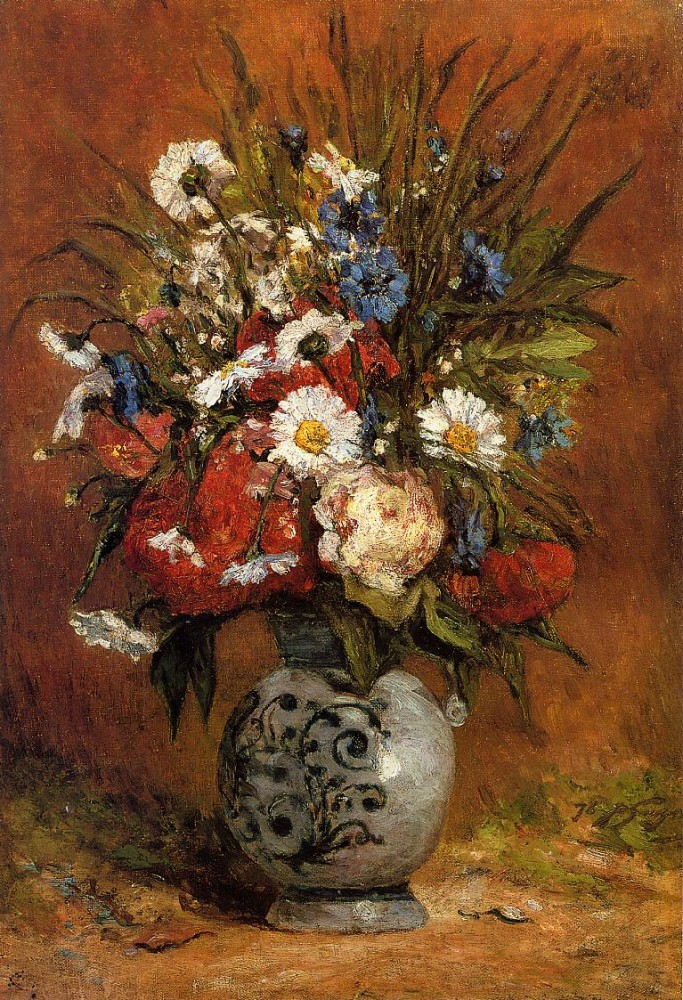 Daisies And Peonies In A Blue Vase by Eugène Henri Paul Gauguin