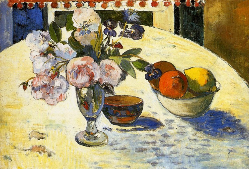 Flowers In A Fruit Bowl by Eugène Henri Paul Gauguin