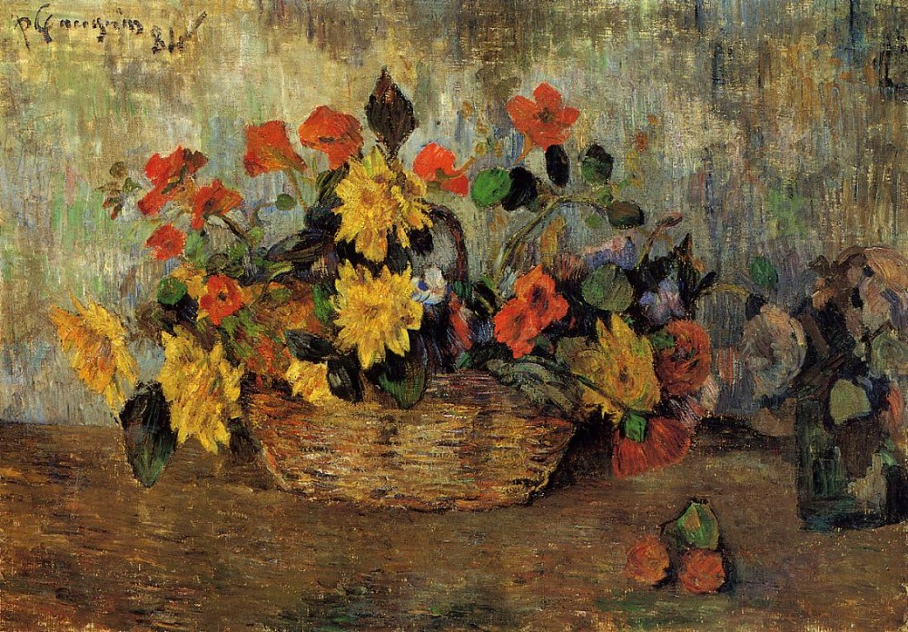 Nasturtiums And Dahlias In A Basket by Eugène Henri Paul Gauguin