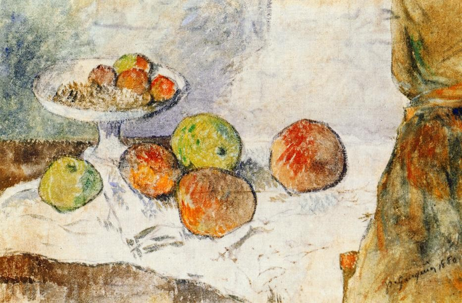 Still Life With Fruit Plate by Eugène Henri Paul Gauguin