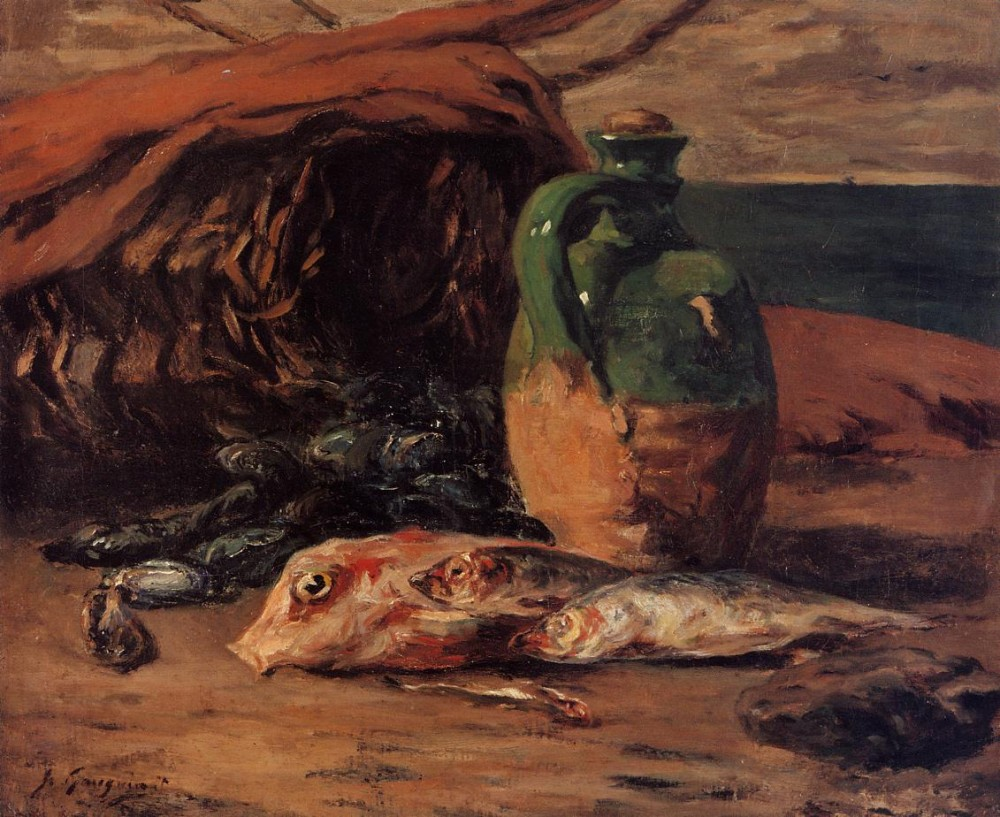 Still Life With Jug And Red Mullet by Eugène Henri Paul Gauguin