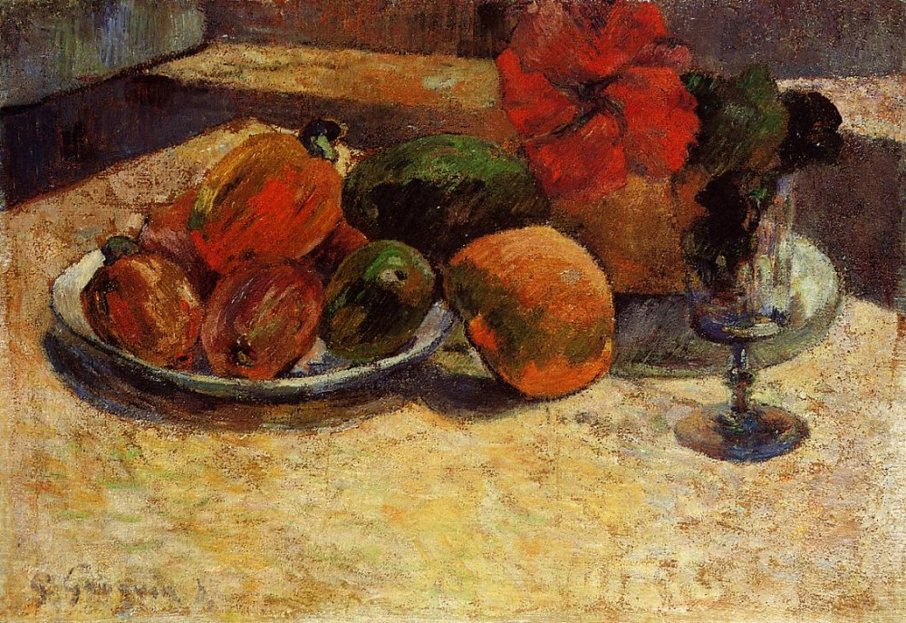 Still Life With Mangoes And Hisbiscus by Eugène Henri Paul Gauguin