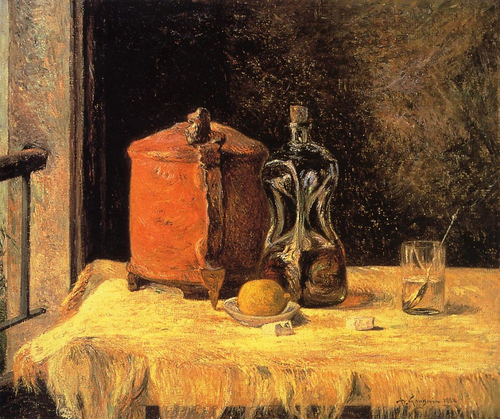 Still Life With Mig and Carafe by Eugène Henri Paul Gauguin