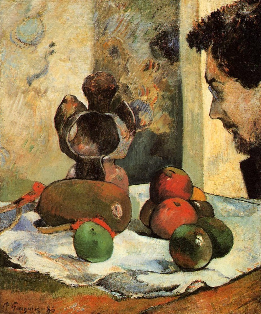 Still Life With Profile Of Laval by Eugène Henri Paul Gauguin
