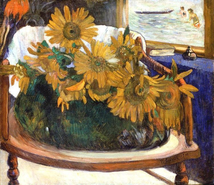 Still Life With Sunflowers On An Armchair by Eugène Henri Paul Gauguin