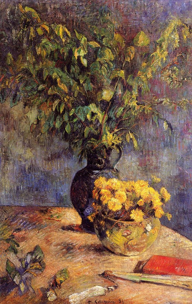 Two Vases Of Flowers And A Fan by Eugène Henri Paul Gauguin