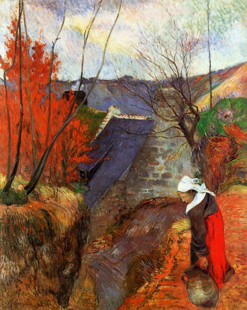 Breton Woman With Pitcher by Eugène Henri Paul Gauguin