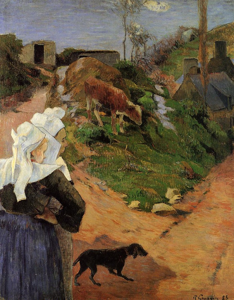 Breton Women At The Turn by Eugène Henri Paul Gauguin