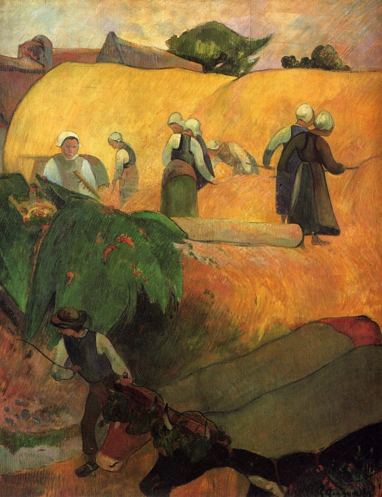 Haymaking in Brittany by Eugène Henri Paul Gauguin
