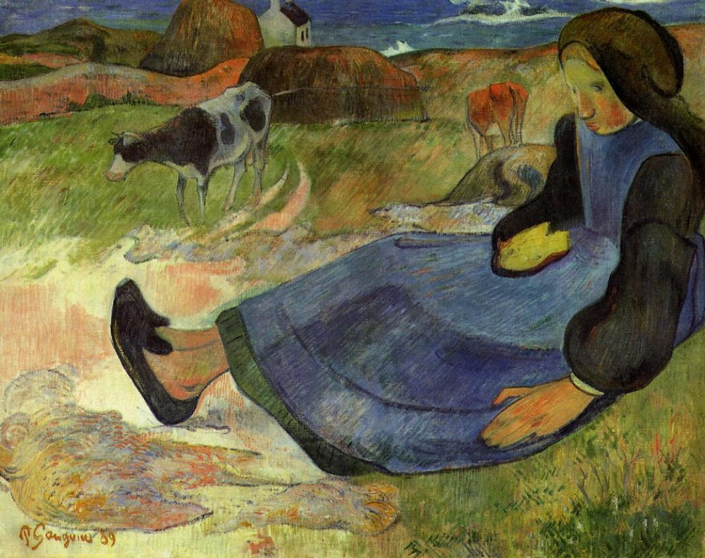 Seated Breton Girl by Eugène Henri Paul Gauguin