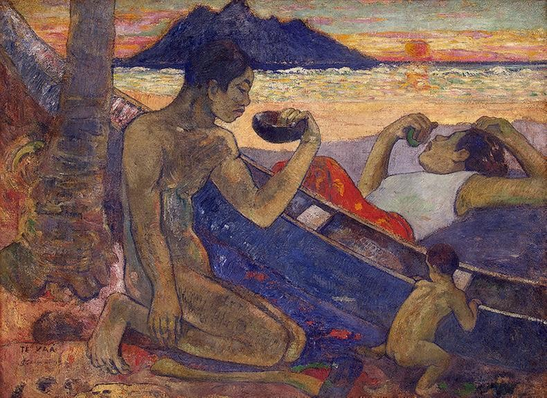 The Canoe A Tahitian Family by Eugène Henri Paul Gauguin