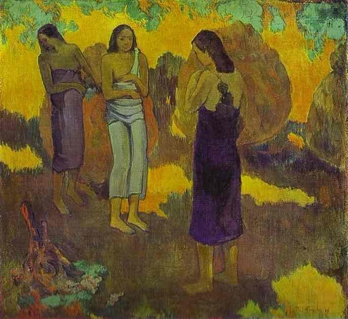 Three Tahitian Women Against A Yellow Background by Eugène Henri Paul Gauguin