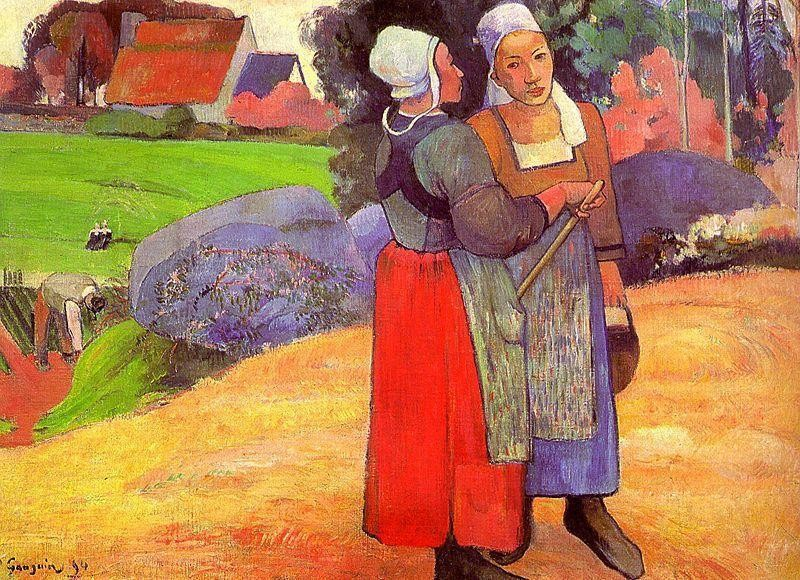 Two Breton Peasants On The Road by Eugène Henri Paul Gauguin
