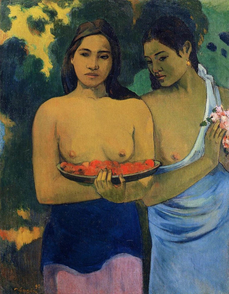 Two Tahitian Women by Eugène Henri Paul Gauguin