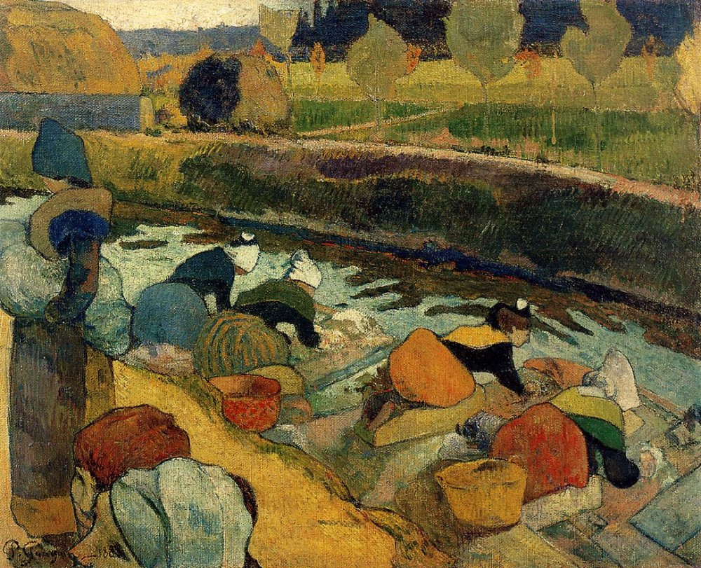 Washerwomen At The Roubbine Du Roi Arles by Eugène Henri Paul Gauguin