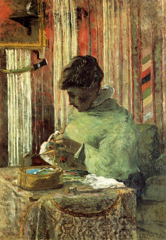 Woman Embroidering by Eugène Henri Paul Gauguin