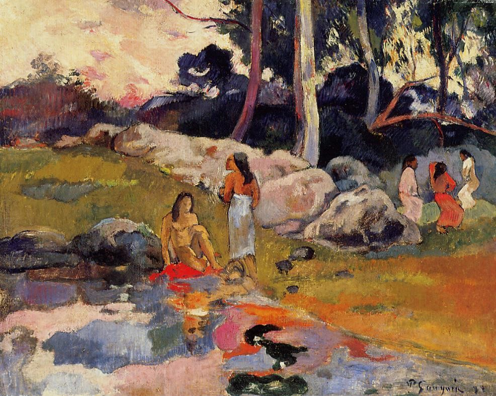 Woman On The Banks Of The River by Eugène Henri Paul Gauguin