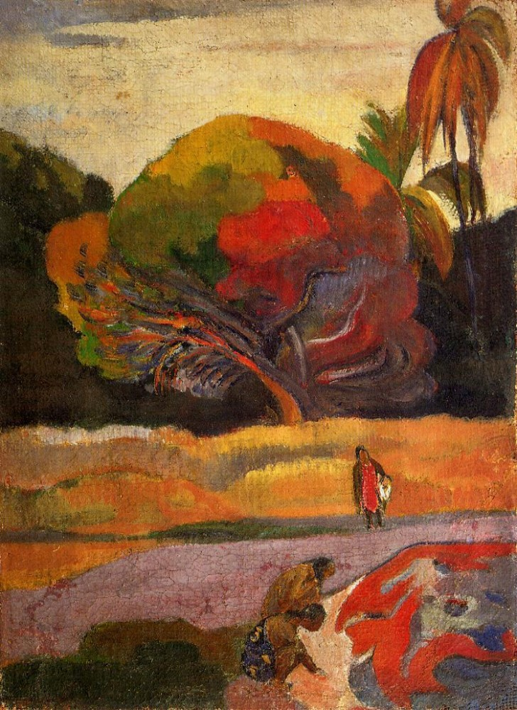Women At The Riverside by Eugène Henri Paul Gauguin