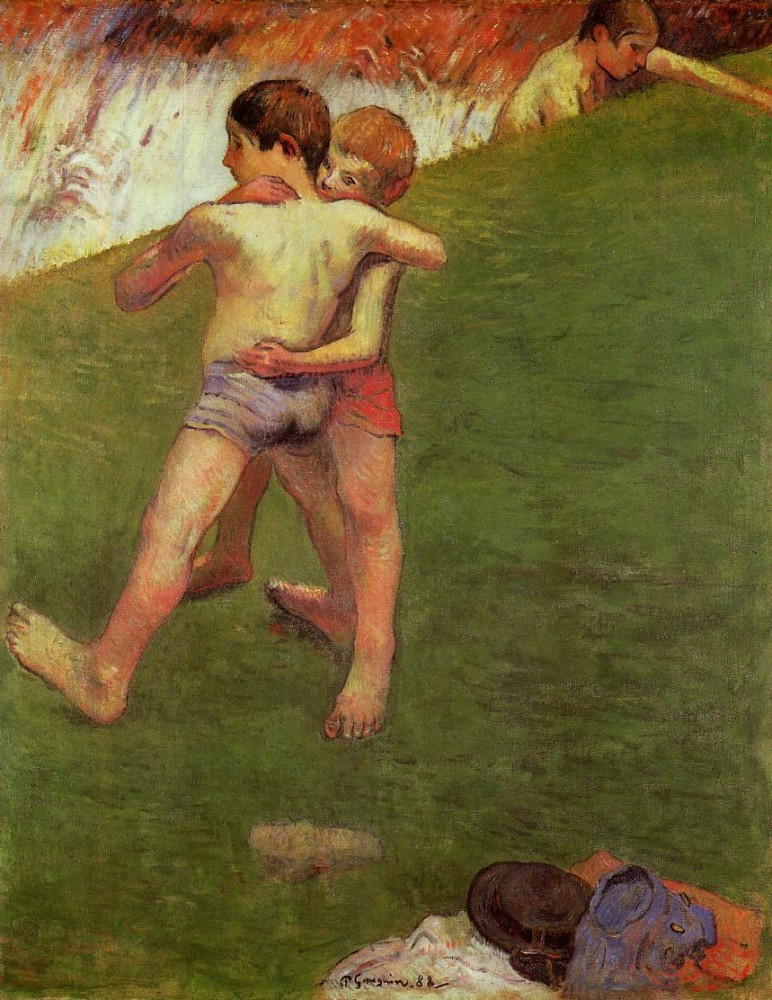 Breton Boys Wrestling by Eugène Henri Paul Gauguin