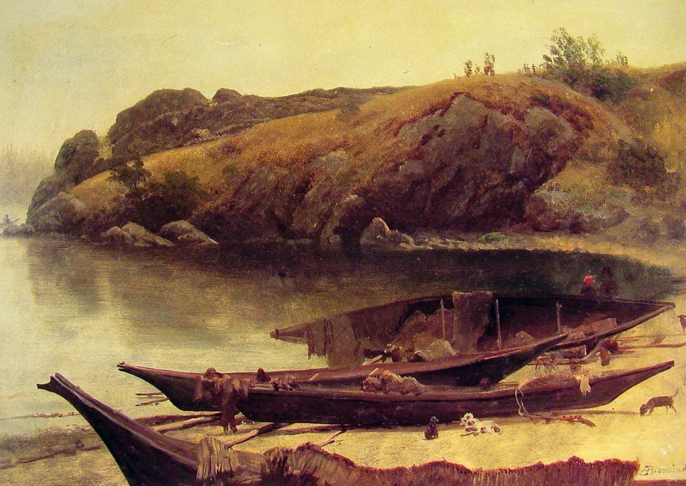 Canoes by Albert Bierstadt