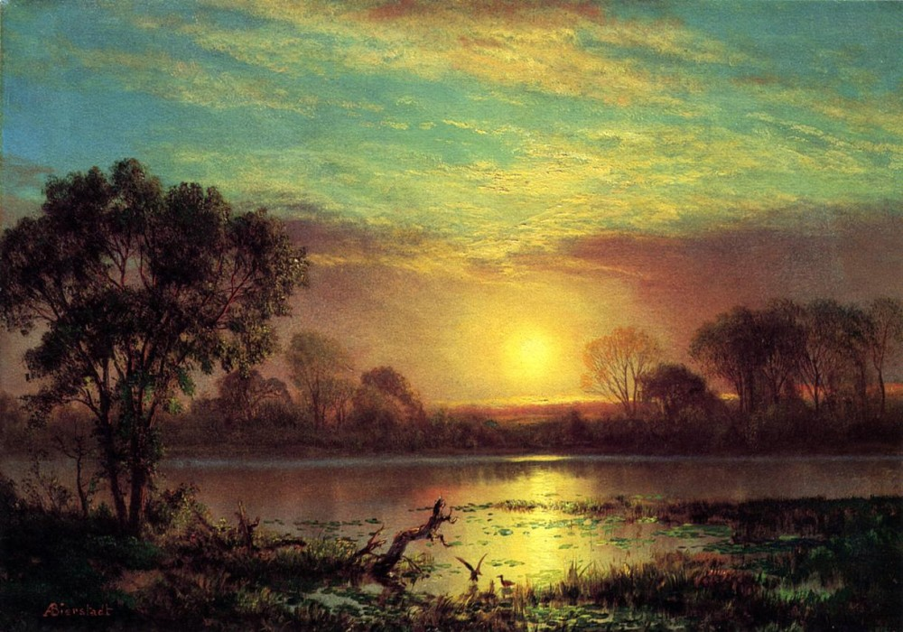 Evening Owens Lake California by Albert Bierstadt