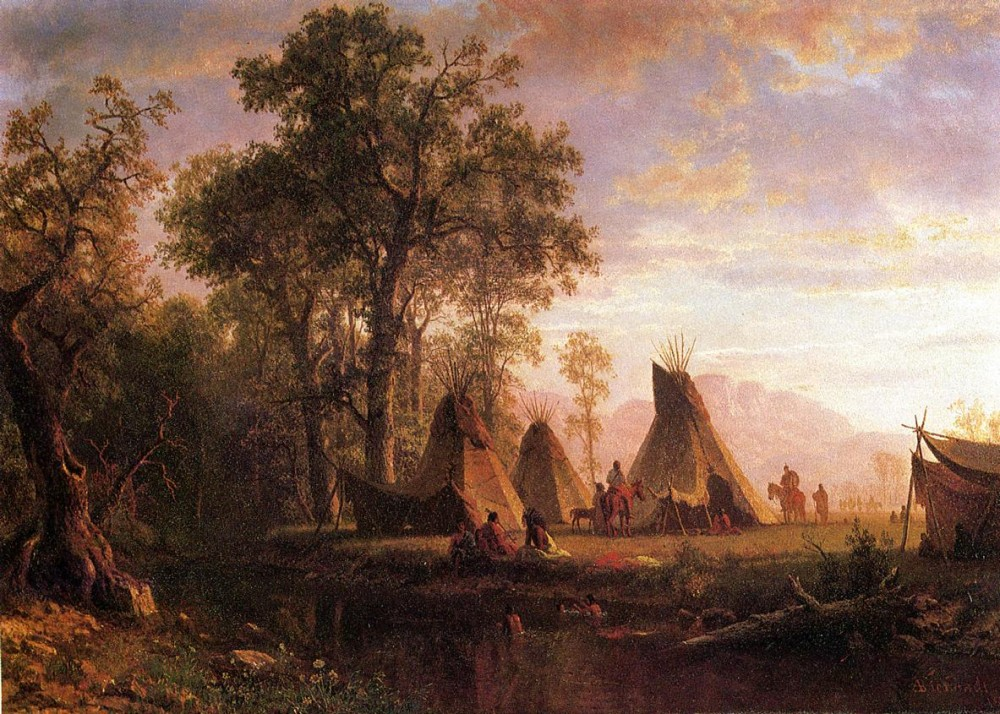 Indian Encampment Late Afternoon by Albert Bierstadt