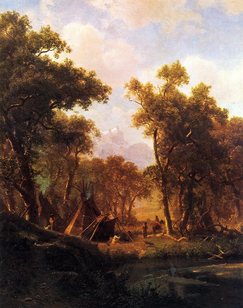 Indian Encampment Shoshone Village by Albert Bierstadt